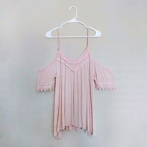 Bohemian Dusty Pink Cold Shoulder Top